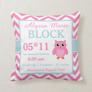 Owl Pink Blue Baby Announcement Pillow