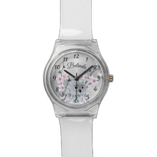 Owl Pink Cherry Blossoms Monogram Watch