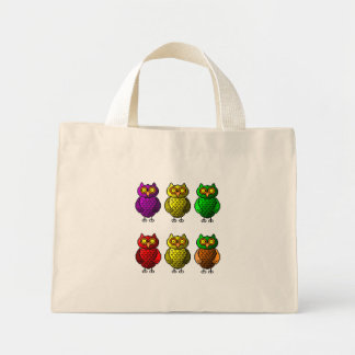 Owl pixel art tote bag
