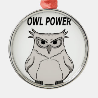owl power metal ornament