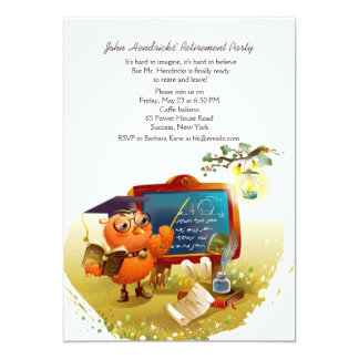 Owl Professor Retirement Party Invitation
