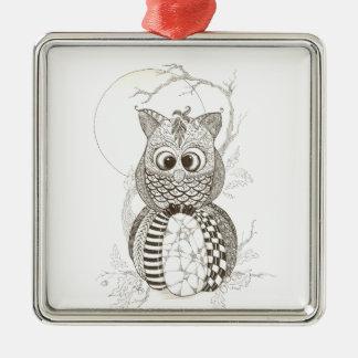 Owl Pumpkin Zentangle Halloween Ornament
