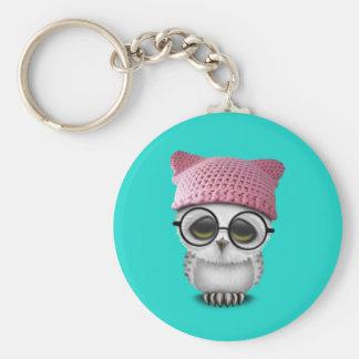 owl pussy hat basic round button keychain