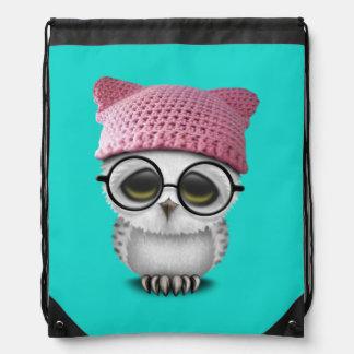 owl pussy hat drawstring bag