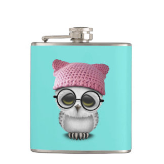 owl pussy hat hip flask