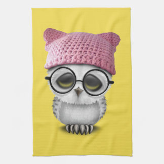 owl pussy hat kitchen towel