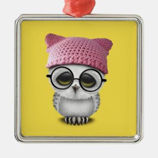 owl pussy hat metal ornament