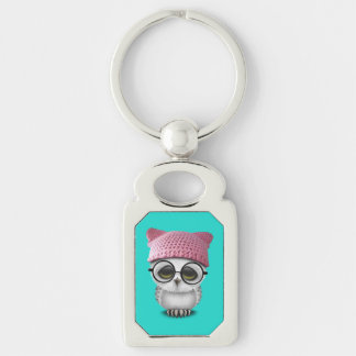 owl pussy hat Silver-Colored rectangle keychain
