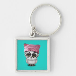 owl pussy hat Silver-Colored square keychain