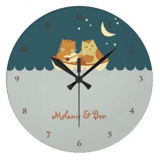 Owl & Pussycat (Sea Blue) Large Clock