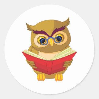 Owl Reading Classic Round Sticker