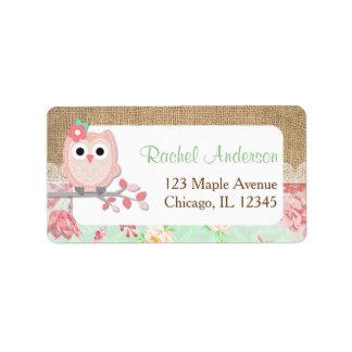 Owl return address labels, shabby chic burlap label