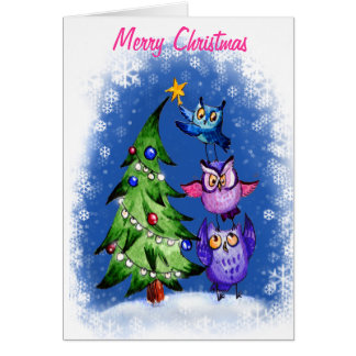 OWl`s Christmas blue Greeting Card