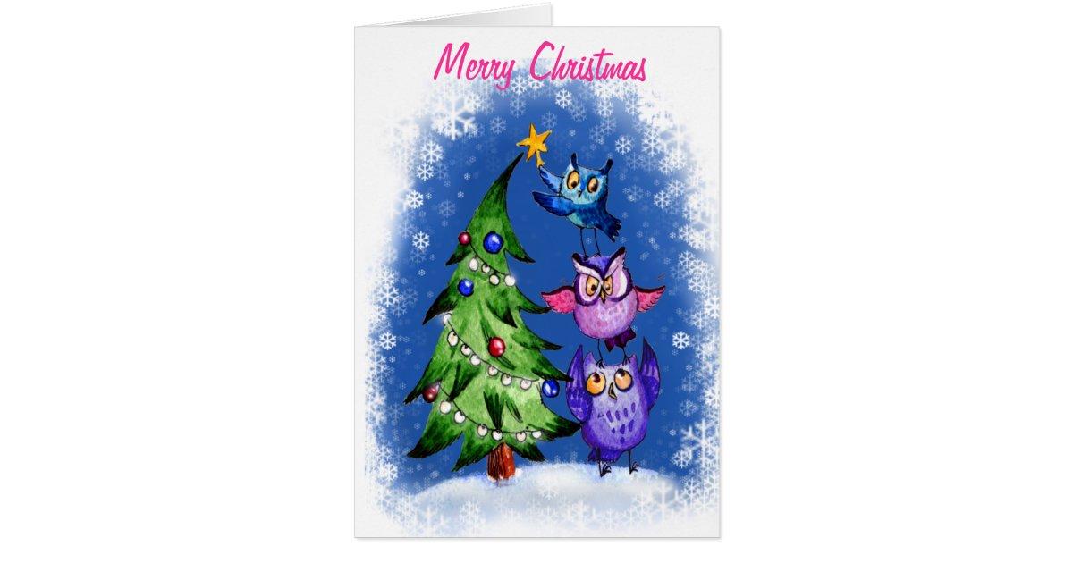 Owl S Christmas Blue Greeting Card Zazzle