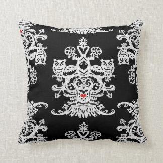 Owl`s hollow black throw pillow