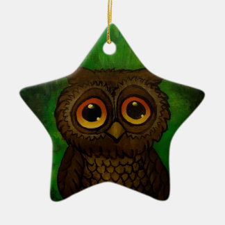 Owl sad eyes ceramic ornament