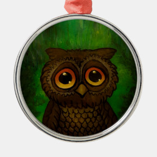Owl sad eyes metal ornament