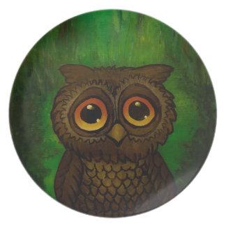 Owl sad eyes party plate