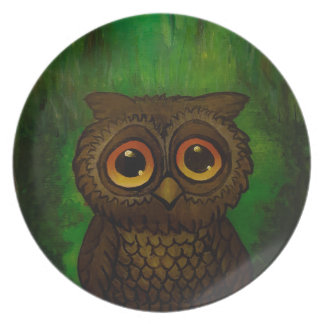 Owl sad eyes plate