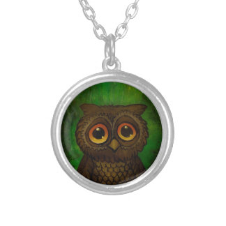 Owl sad eyes silver plated necklace
