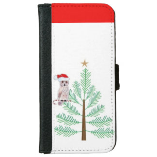 Owl santa and christmas tree iPhone Wallet Case