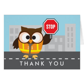 Owl School Crossing Guard Thank You Card