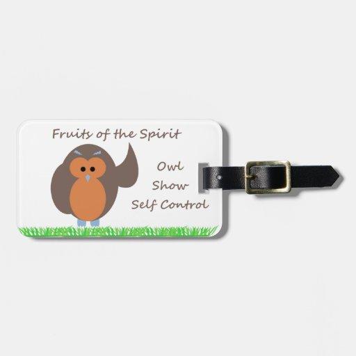 Owl Show Self Control Luggage Tag w/ leather strap