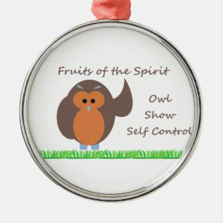 Owl Show Self Control Premium Round Ornament