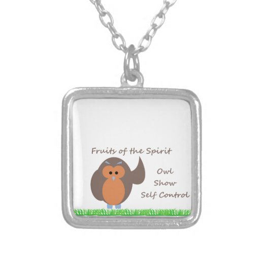 Owl Show Self Control Sm Silv Plated Sq Necklace
