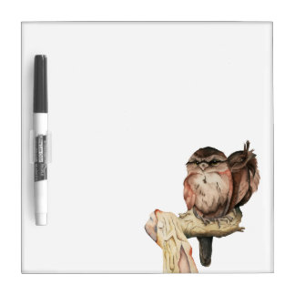 Owl Siblings Watercolor Portrait Dry Erase Board