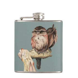Owl Siblings Watercolor Portrait Hip Flask