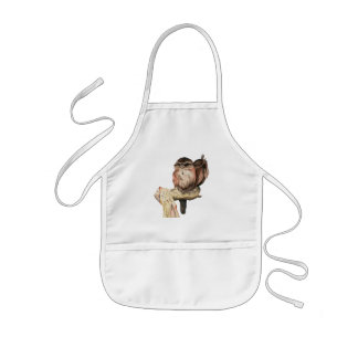 Owl Siblings Watercolor Portrait Kids Apron