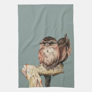 Owl Siblings Watercolor Portrait Kitchen Towel
