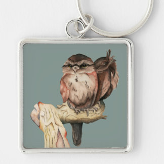 Owl Siblings Watercolor Portrait Silver-Colored Square Keychain