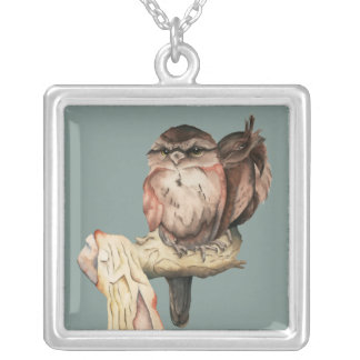 Owl Siblings Watercolor Portrait Silver Plated Necklace