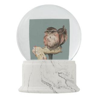 Owl Siblings Watercolor Portrait Snow Globe