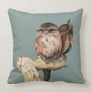 Owl Siblings Watercolor Portrait Throw Pillow