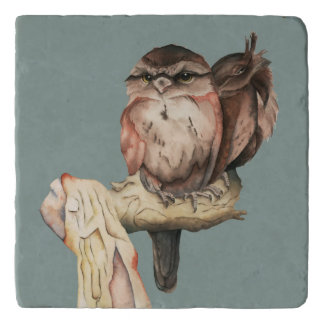 Owl Siblings Watercolor Portrait Trivet