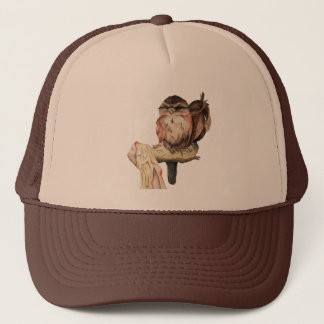 Owl Siblings Watercolor Portrait Trucker Hat