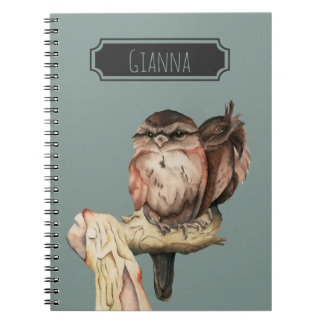 Owl Siblings Watercolor Portrait with Name Spiral Note Book