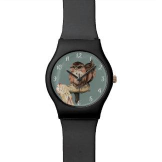 Owl Siblings Watercolor Portrait Wristwatches