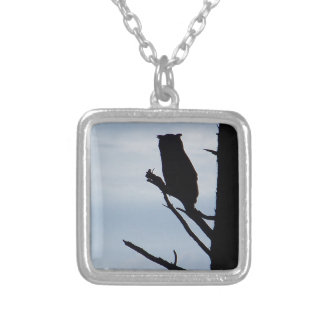 Owl Silhouette Silver Plated Necklace