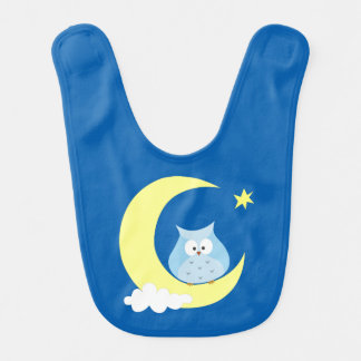 Owl sitting on the Moon Baby Bibs