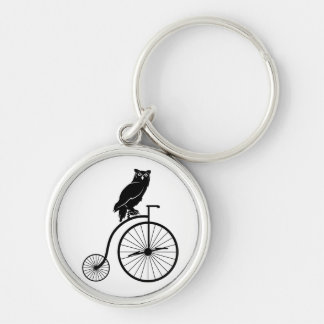 Owl Sitting on Vintage Bike Silver-Colored Round Keychain