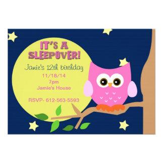 Owl Sleepover Invite