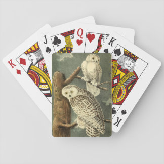 Owl Snowy Audubon Bird Art Illustration Birding Playing Cards