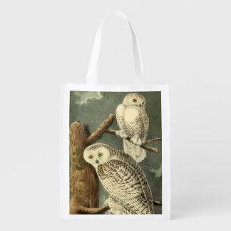 Owl Snowy Audubon Bird Art Illustration Birding Reusable Grocery Bag