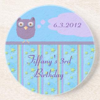 Owl Star Birthday Celebration Drink Coaster