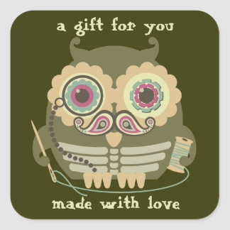 Owl steampunk skeleton mustache sewing needle square sticker