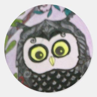 Owl sticker. round sticker